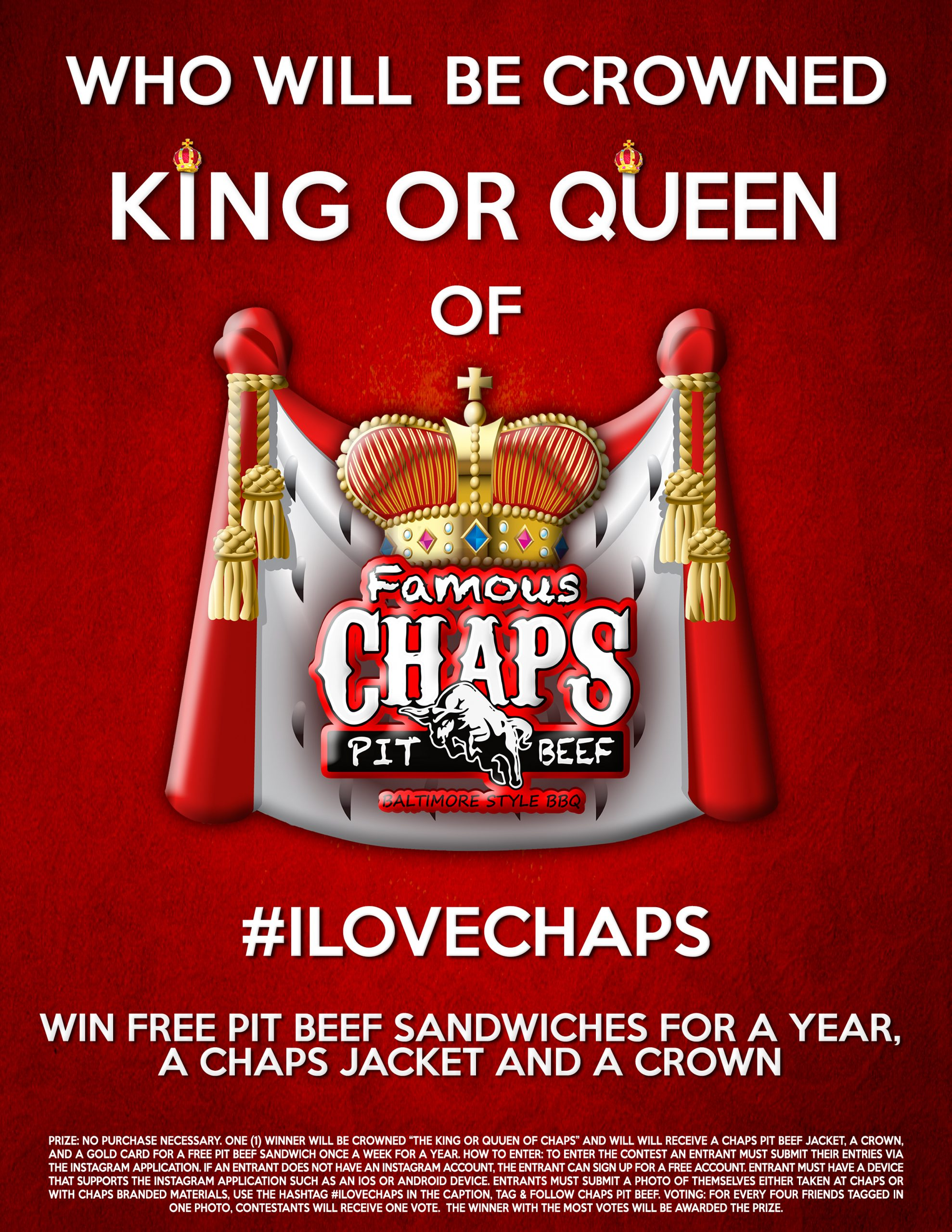 Win a Chaps Pit Beef Sandwich Once a Week for a Whole Year!