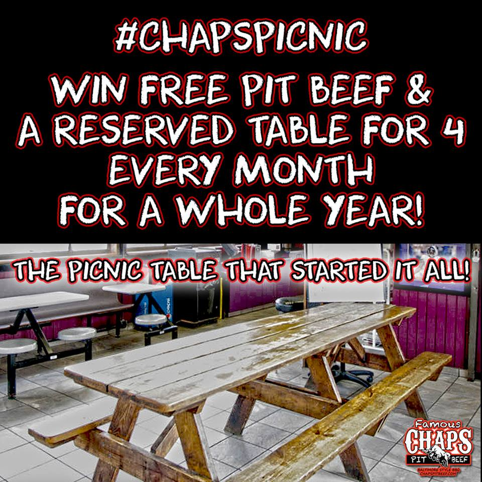 Win Pit Beef and a Reserved Table at Chaps for a Year!
